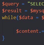 Screenshot PHP Code, Joomla